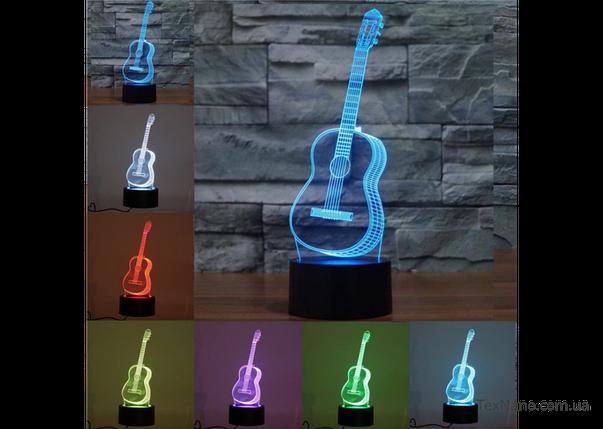 """Необычный светильник для любителей музыки """"Гитара"""" 1101 с 3D эффектом, фото 2"""
