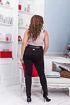 """Классические сексуальные леггинсы-лосины """"Диана"""" с кожаными вставками (большие размеры), фото 3"""