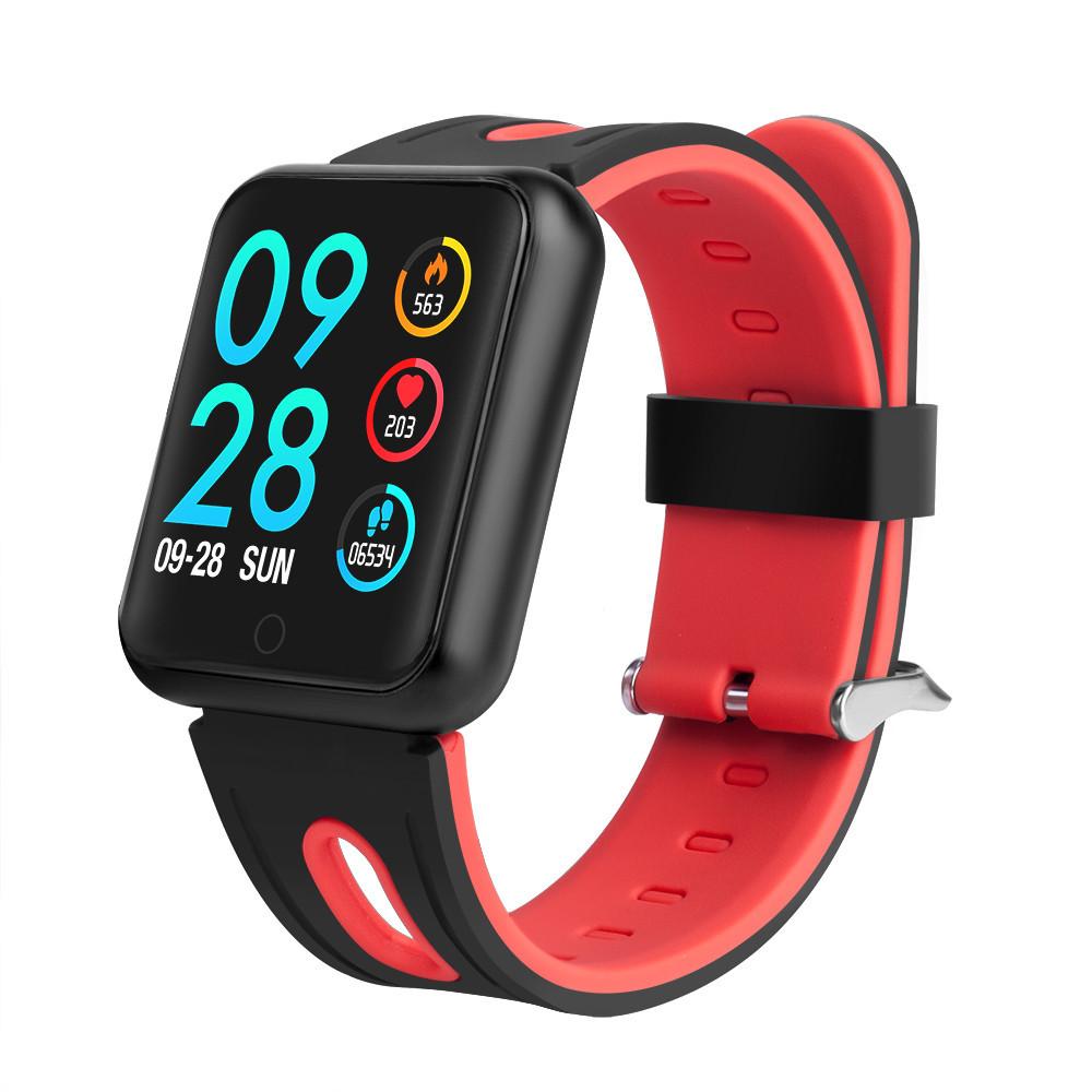 Фитнес браслет P68 цветной IPS дисплей тонометр давления крови iPhone Android трекер пульсометр черный красный