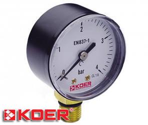 """Манометр радиальный Koer 0-4 bar D-50мм 1/4"""" KM.502R"""