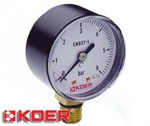 """Манометр радиальный Koer 0-6 bar D-50мм 1/4"""" KM.502R"""