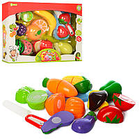 Продукты NF582-32-33 (24шт) на липучке,8шт, 2вида(овощи/фрукты), досточка, нож, в кор-ке, 34-24-6см