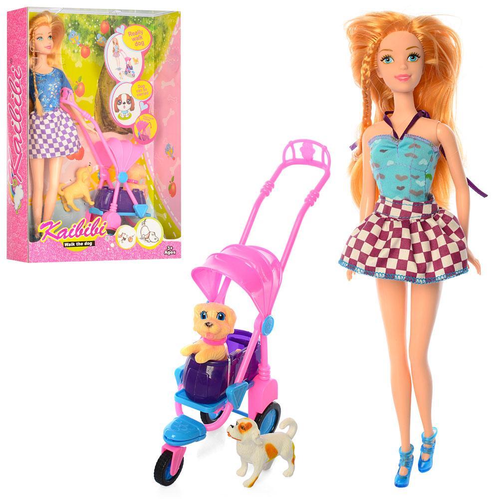 Кукла BLD125 (24шт) 30см, коляска, собачка 2шт, 2вида, в кор-ке,32,5-22-6см