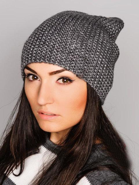 вязаная женская шапка на флисе 001d05 цена 200 грн купить в