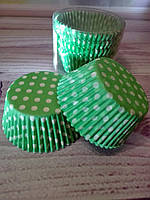 Бумажные формы для кексов зеленый горох, 100 шт