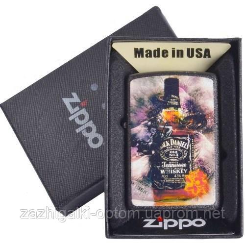 Зажигалка бензиновая Zippo в подарочной упаковке 4736 (Jack Daniels)