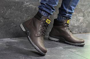 Мужские кожаные ботинки Caterpillar,темно коричневые