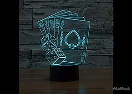 """Ефектний світильник-нічник 1096 """"Покер"""", світлодіодний тривимірного зображення"""