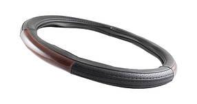 Чехол на руль экокожа черный с коричневым перфорация белая подкладка WINSO 37*39 cm M size 140220