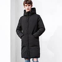 Зимний длинный пуховик (силикон), тренерская куртка длинная мужская, размер от подростка