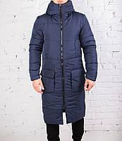 """Длинное пальто мужское Pobedov """"Tank"""" очень теплое синего цвета"""