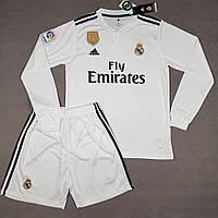 6b5b00f1fd70 Детская футбольная форма Реал Мадрид с длинным рукавом 2018-2019 белая