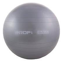 Дитячий м'яч для фітнесу (фітбол) 65 см (глянець, в пакеті) Profi (MS 0382) Сірий