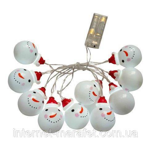 """Новорічна світлодіодна гірлянда """"Сніговички"""" 10 LED на батарейках"""