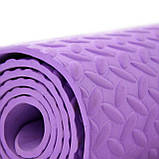 Килимок (мат) для йоги та фітнесу EVA OSPORT 8мм (MS 1088) Фіолетовий, фото 2