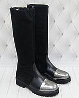 Сапоги зимние женские кожаные Tucino (бронза кожа и черный замша), фото 1