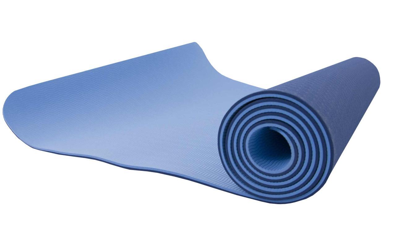 Коврик для йоги и фитнеса (йога мат) двухслойный OSPORT TPE+TC 181х61см толщина 10мм (osport-mat) сине-голубой