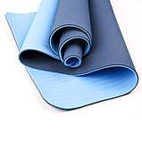 Коврик для йоги и фитнеса (йога мат) двухслойный OSPORT TPE+TC 181х61см толщина 10мм (osport-mat) сине-голубой, фото 2
