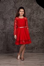 Подростковое нарядное платье р.140-158 красный