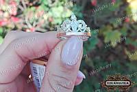 Срібна каблучка Корона із золотою напайкою основою та фіанітами
