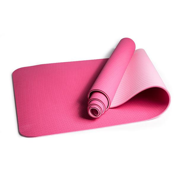 Коврик (йога мат) для фитнеса и йоги FitUp TPE+TC 6мм (FI-0112) розовый-светлорозовый