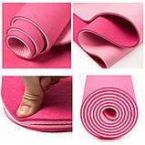 Коврик (йога мат) для фитнеса и йоги FitUp TPE+TC 6мм (FI-0112) розовый-светлорозовый, фото 2