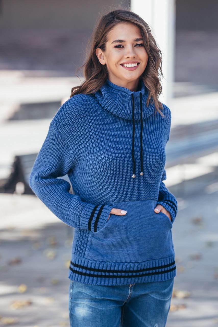 Теплый вязаный свитер с карманом Кенгуру  Универсальный размер 44-52