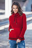 Теплый вязаный свитер с карманом Кенгуру  Универсальный размер 44-52, фото 2