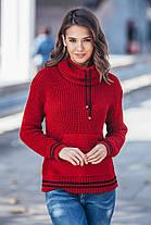 Теплый вязаный свитер с карманом Кенгуру  Универсальный размер 44-52, фото 3