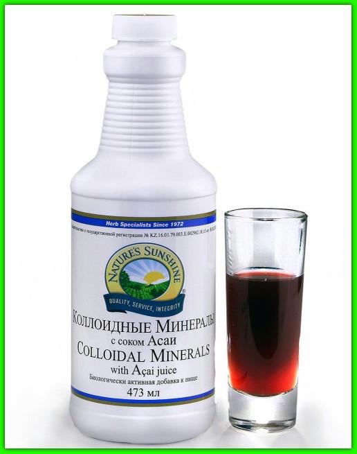 Коллоидные минералы с соком Асаи НСП (Colloidal Minerals Nsp) 74 макро и микроэлементов Минералы Обмен веществ