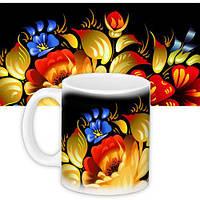 Чашка с принтом цветы (33159)