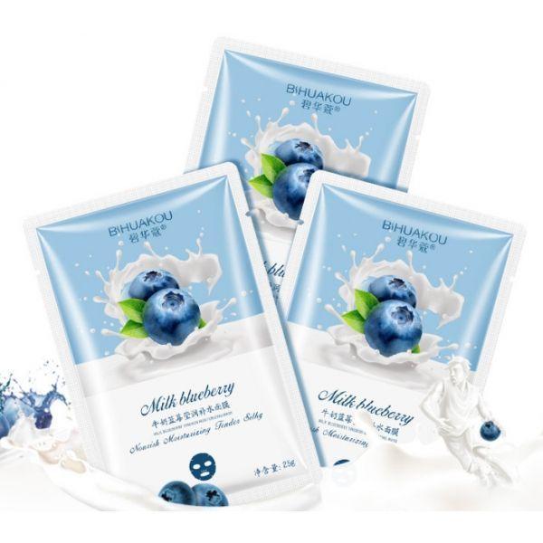 Тканевая маска для лица Bisutang anti-aging на основе экстракта голубики и молока 25 мл