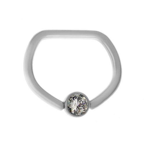 Кольцо из титана необычной формы с кристаллом