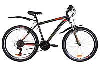 """Велосипед 26"""" Discovery TREK AM 14G Vbr St с крылом Pl 2019 (черно-оранжевый хаки (м))"""