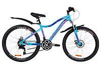 "Велосипед 26"" Discovery KELLY AM 14G DD St с крылом Pl 2019 (голубой с розовым)"