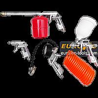 Набор пневмоинструмента 5 в 1 Onex OX-1021, аксессуары для компрессора, набор покрасочный пневматический, фото 1