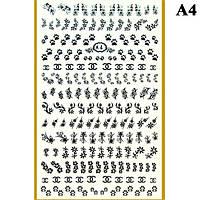Наклейки для Ногтей PhotonailArt Водные Однотонные, Большая Пластина, Angevi  А4
