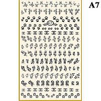 Наклейки для Ногтей PhotonailArt Водные Однотонные, Большая Пластина, Angevi  А7