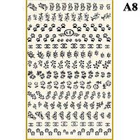 Наклейки для Ногтей PhotonailArt Водные Однотонные, Большая Пластина, Angevi  А8