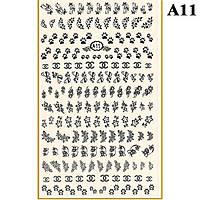 Наклейки для Ногтей PhotonailArt Водные Однотонные, Большая Пластина, Angevi  А11