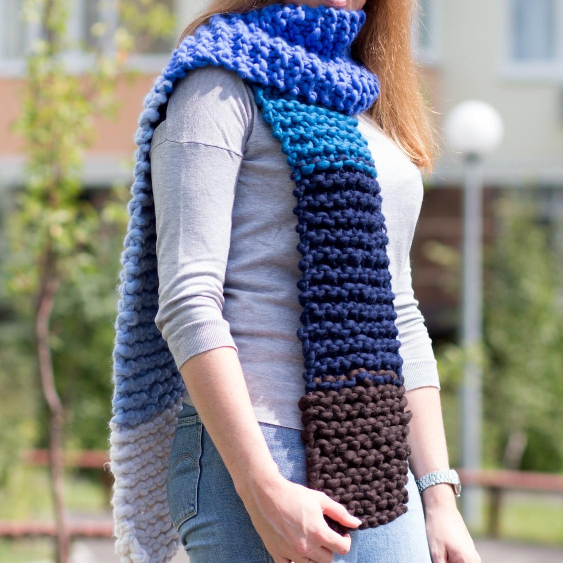 разноцветный вязаный шарф крупной вязки 100 мериносовая шерсть