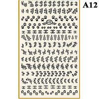 Наклейки для Ногтей PhotonailArt Водные Однотонные, Большая Пластина, Angevi  А12