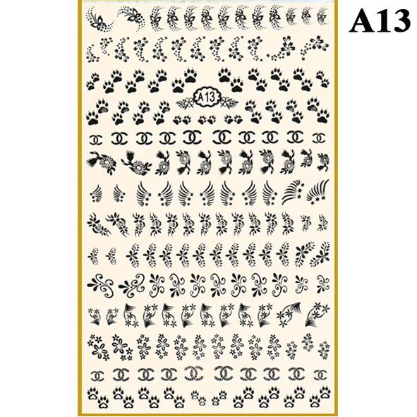 Наклейки для Ногтей PhotonailArt Водные Однотонные, Большая Пластина, Angevi  А13