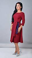 Женское платье под пояс цвета марсала размер 44