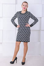 Вязаное платье Фенди черный-белый (42-52)