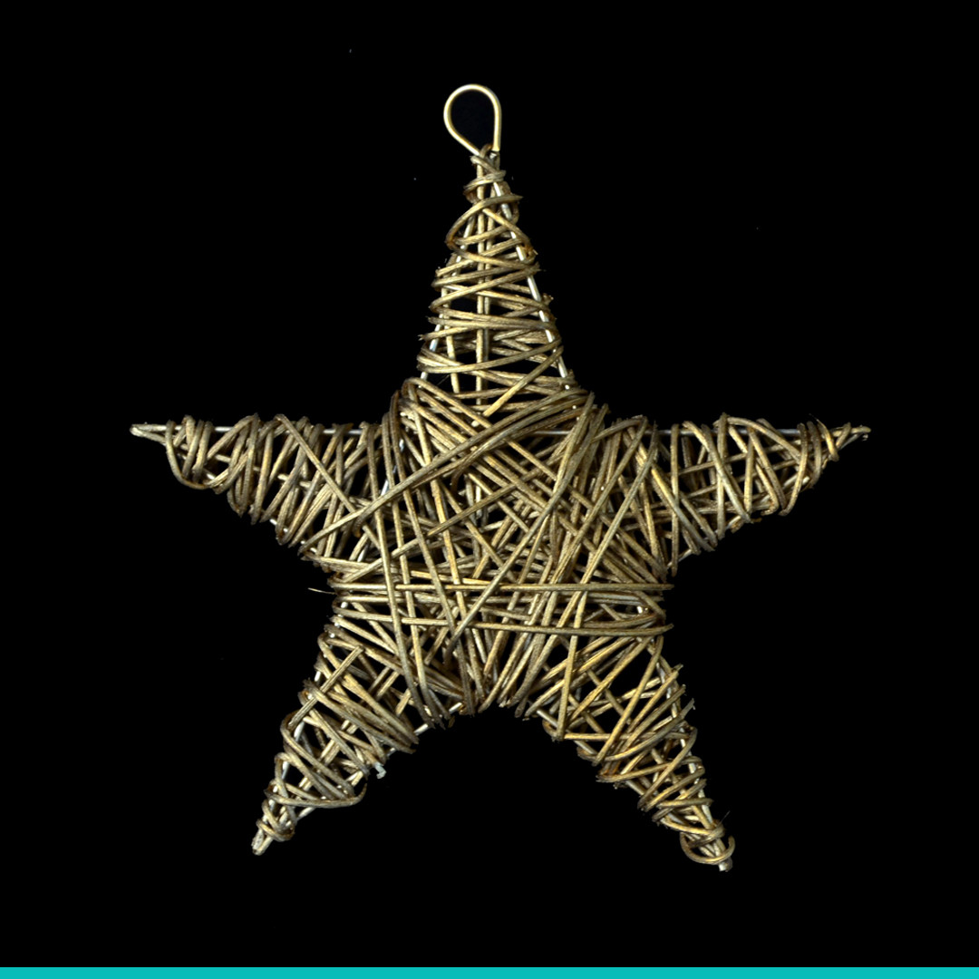Звезда ротанговая золотая (15 см)