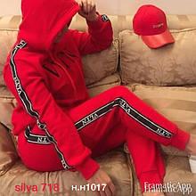 Женский спортивный костюм, трёхнить - флис, р-р С; М; Л; ХЛ; ХХЛ (красный)