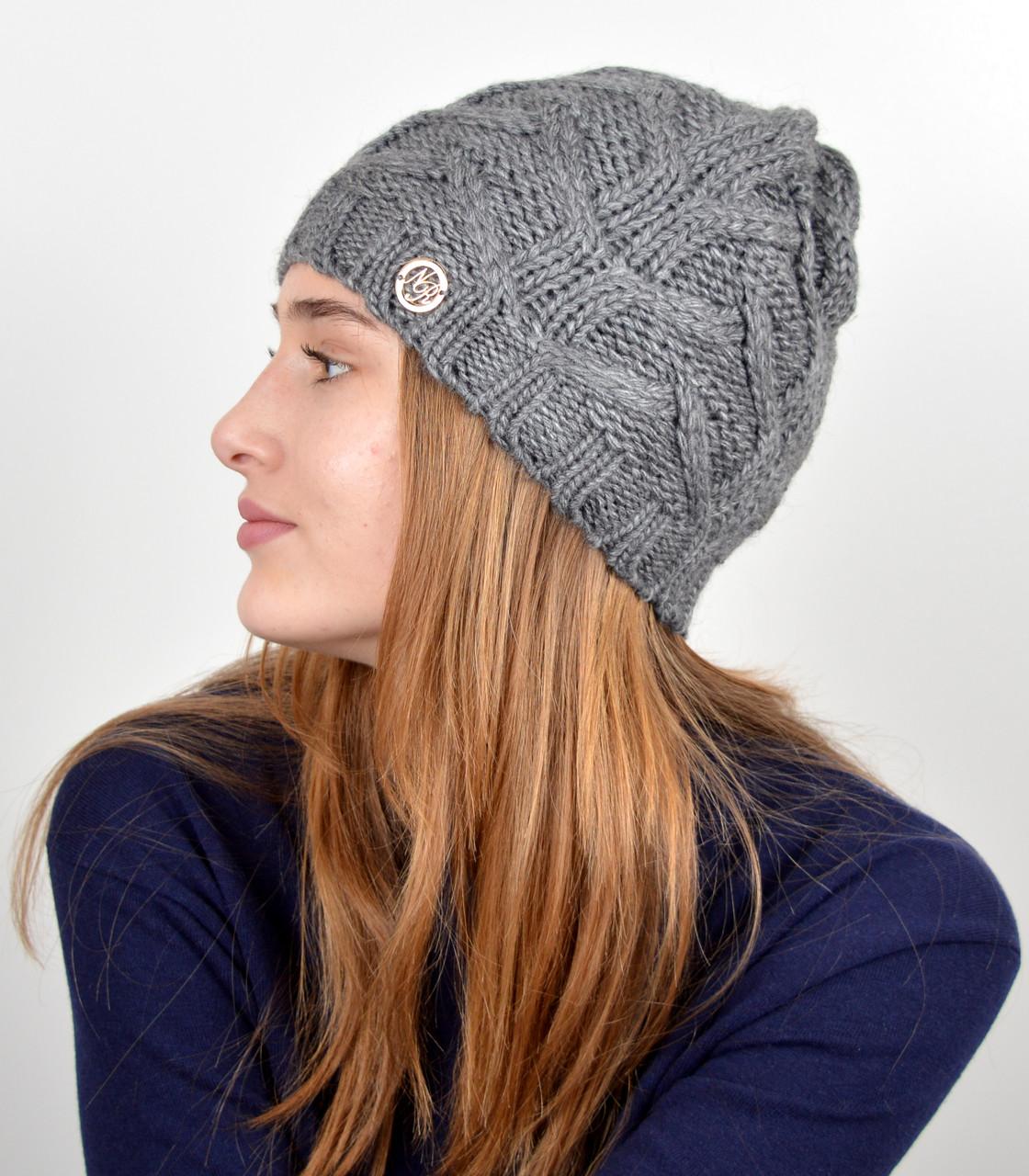 """Женская шапка """"Прага"""" т.серый"""