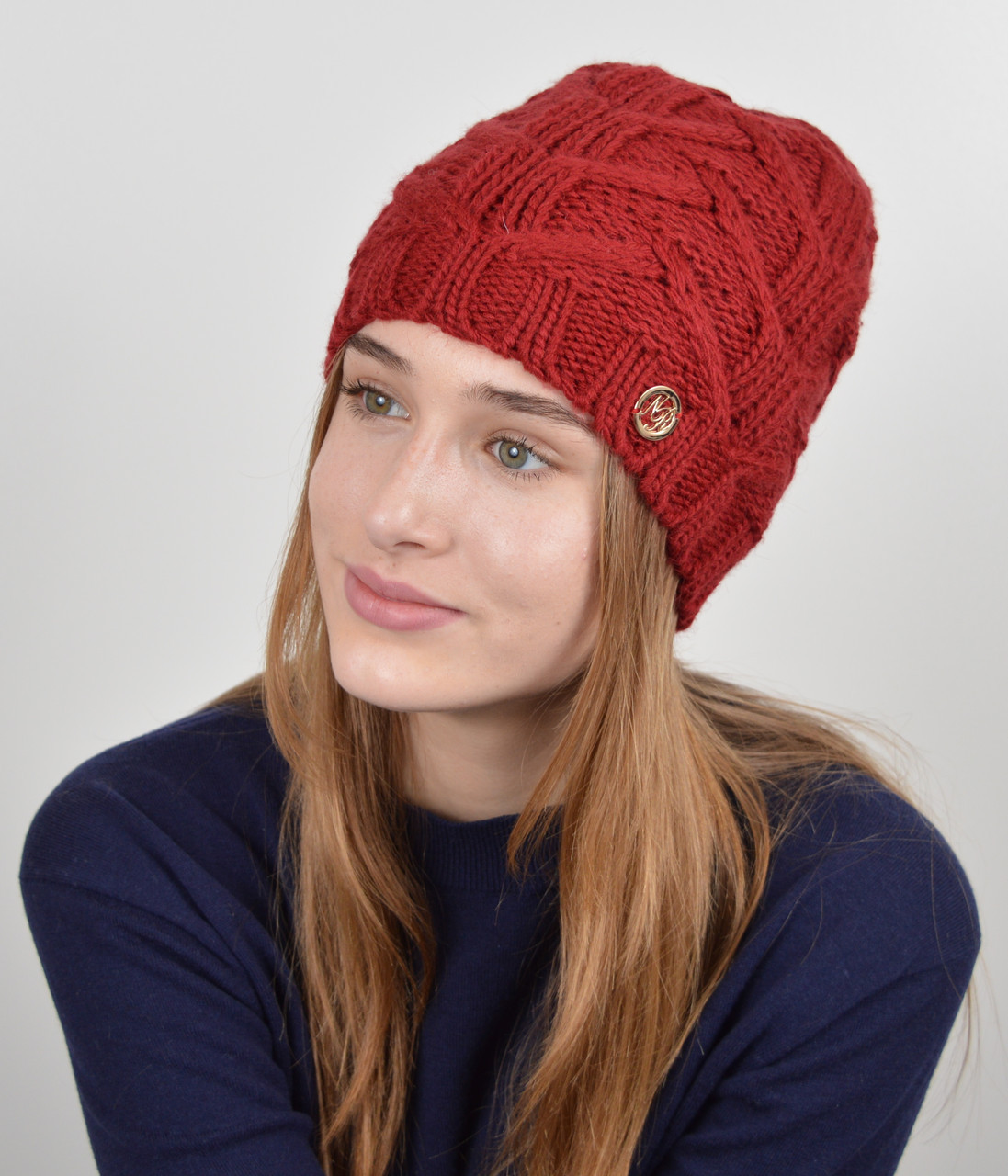 """Женская шапка """"Прага"""" Бордо"""