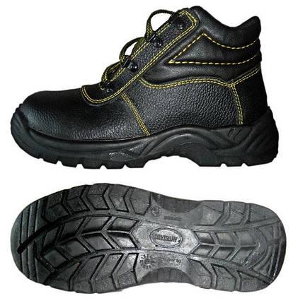 Ботинки юфть/кирза СМ рабочие демисезон с мет.подноском ПУ (литая) подошва черные, фото 2